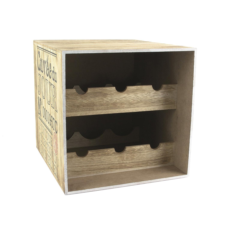 Totally Addict kv7210Cantinetta per Vino 6Bottiglie, Legno, Marrone/Nero, 30x 33,5x 30cm CMP Paris