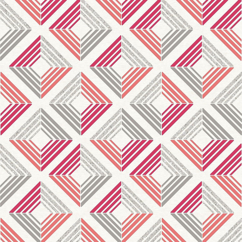 Metallic Wallpaper Diamond Geometric Print Luxury Embossed Vinyl Shiny Erismann