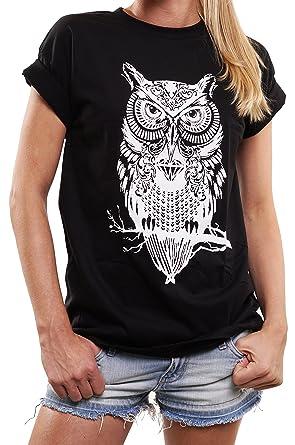 643f5bd539bf MAKAYA Lustige und Coole Eulen Shirts für Frauen in großen Größen Oversize Shirt  Damen weiß mit