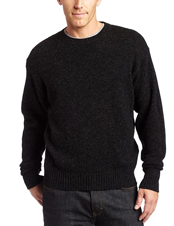 PENDLETON Men's Shetland Crew-Neck Sweater, Black Heather-63919, XL best men's sweaters