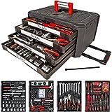 TecTake -Set de herramientas (200 piezas), en maletín carrito portaherramientas con 4cajones