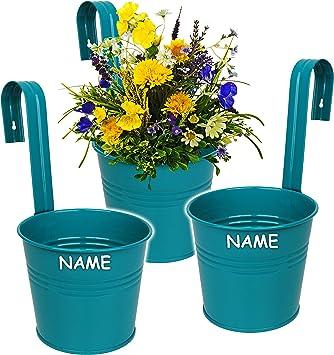 Alles Meine De Gmbh Hange Blumentopf Hangetopf Pflanzschale Metall Turkis Blau Mint Inkl Name O 17 Cm Rund Hangend Mit Haken Halterung Aufhangen Gross Amazon De Spielzeug