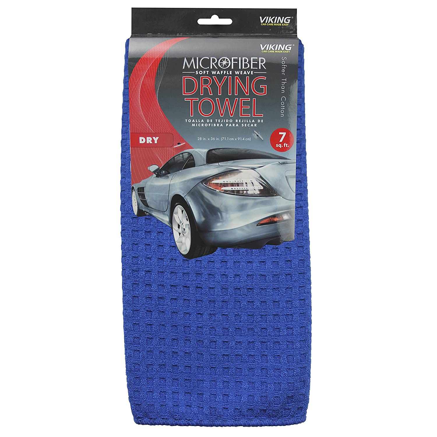 Viking Car Care Waffle Weave Drying Towel, 7 Square Feet, Blue 912400