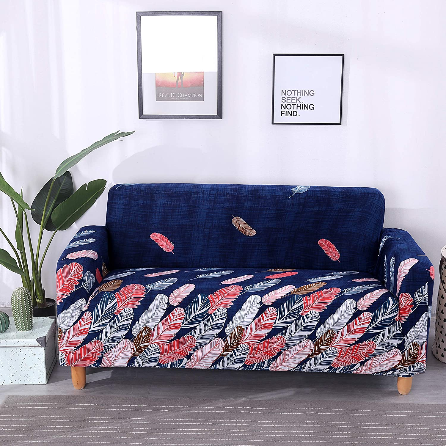 Outstanding Lamberia Printed Sofa Cover Stretch Couch Cover Sofa Slipcovers For 4 Cushion Couch With One Free Pillow Case Colorful Leaves Sofa 4 Seater Ibusinesslaw Wood Chair Design Ideas Ibusinesslaworg