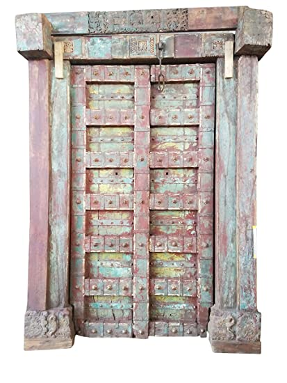 Mogul Interior Antique Earthing Doors Rustic Red Indian Architectural Teak  18c