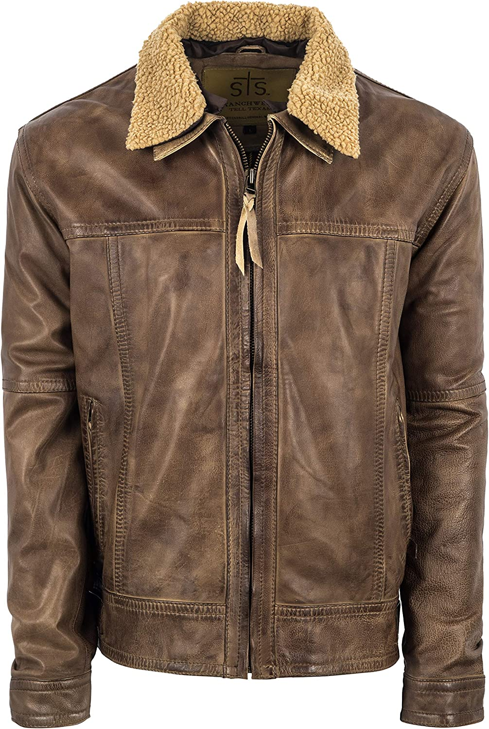 STS Ranchwear Mens Vintage Style Leather Jacket Cream Beige, Small
