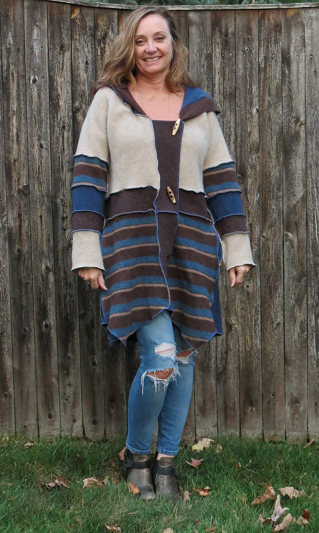 Chocolate Browns N Blue Felted (Aline) Cardigan Coat