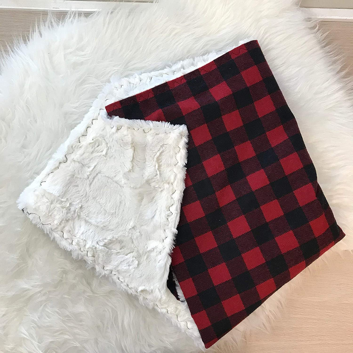 Buffalo Plaid Minky Blanket Custom with embroidered Name Baby
