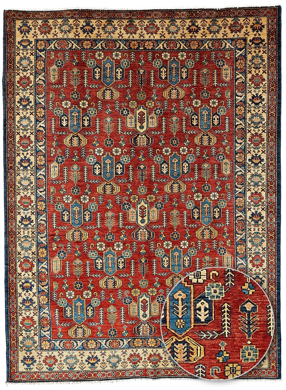 un Amour von Teppich 22741handgeknüpft Kazak 41Färbemittel pflanzliches Teppich D 'ORIENT Wolle Rot 190x 240cm