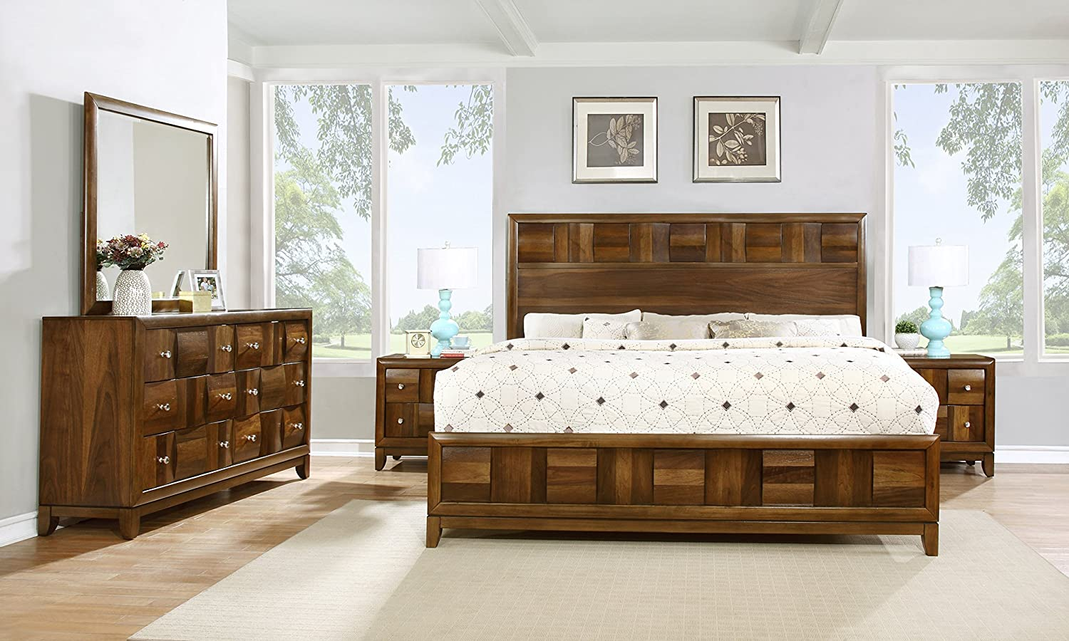 Roundhill Furniture Calais Solid Wood Construction Bedroom Set with Bed - Dresser - Mirror - 2 Night Stands - King - Walnut