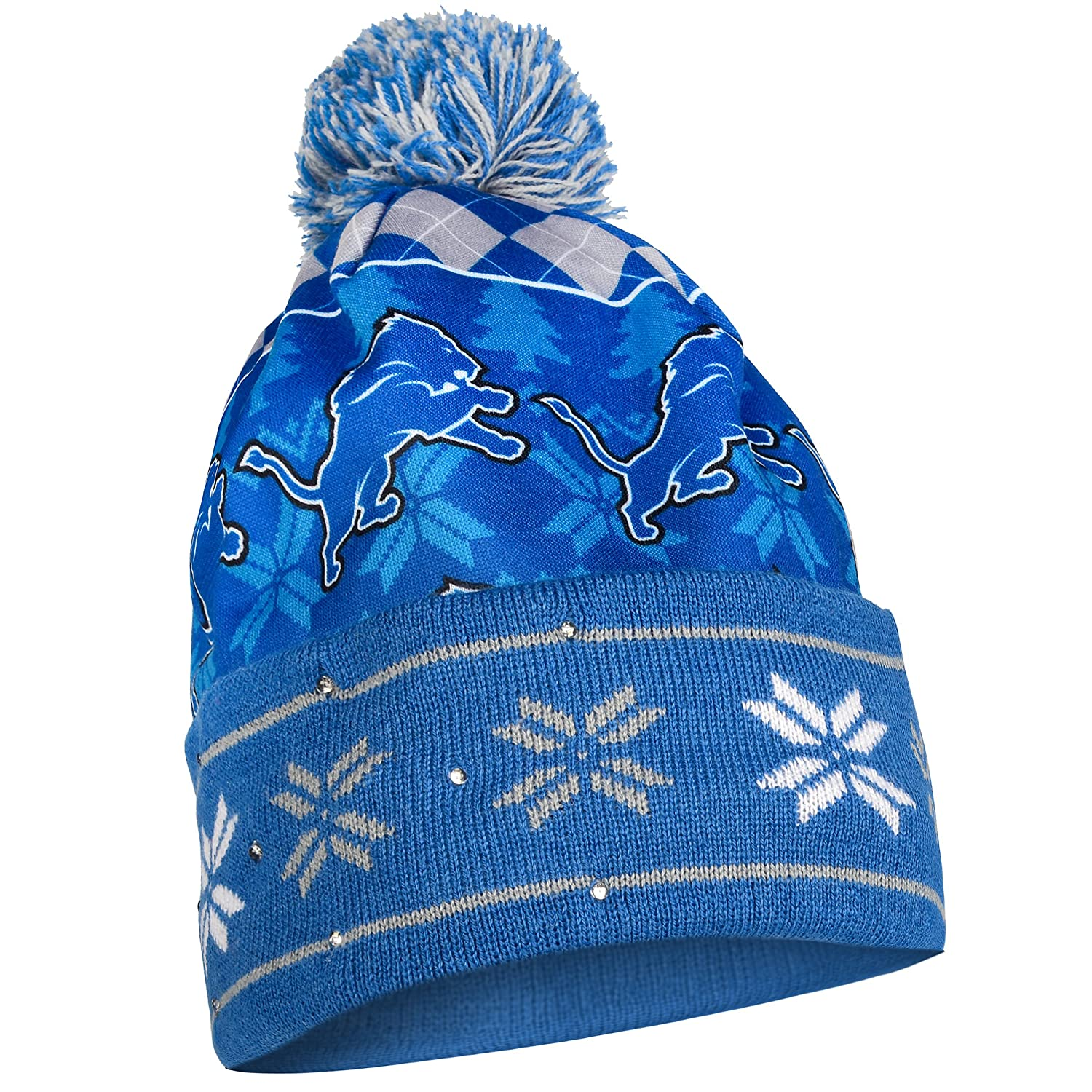 Detroit Lions Exclusive Busy Block Printed Light Up Beanie