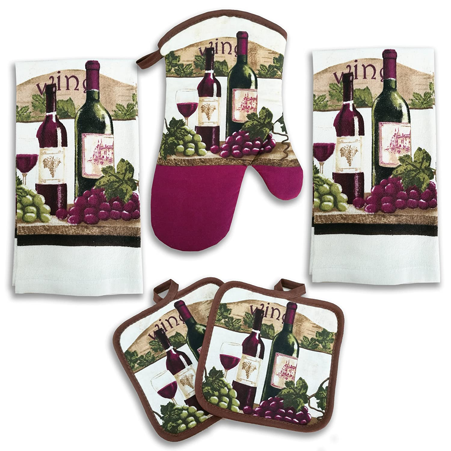 Wine Bottle Kitchen Decor 5 Piece Linen Set