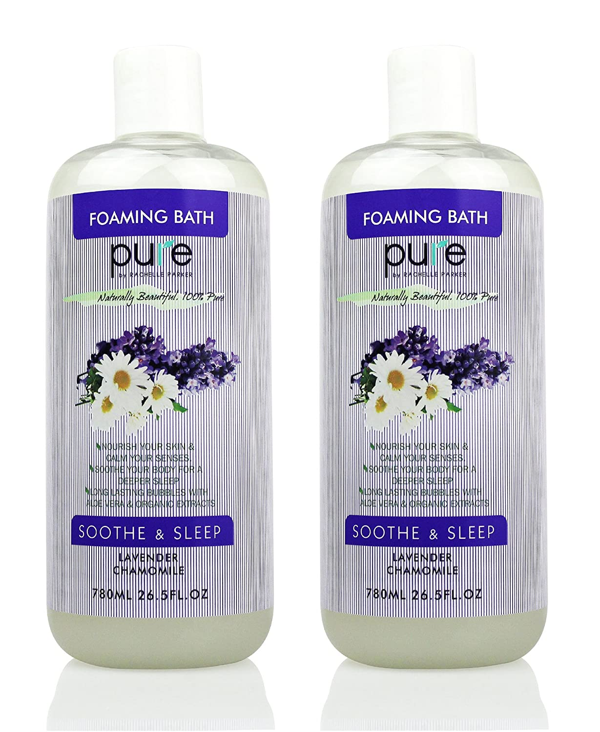 PURE Aromatherapy Lavender and Chamomile Bubble Bath, Organic Essential Oils Bath Foam - Nourishes & Soothes, 2 Large Lavender Bubble Bath is Sulfate Free with Lavender Essential Oil! Pure by Rachelle Parker PRP-US-404