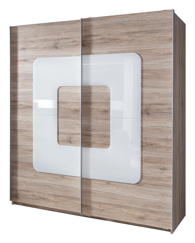 Wimex 106771 Schwebetürenschrank, San Remo Eiche Nachbildung, 180 x 198 x 64 cm, Absetzung Glas, weiß