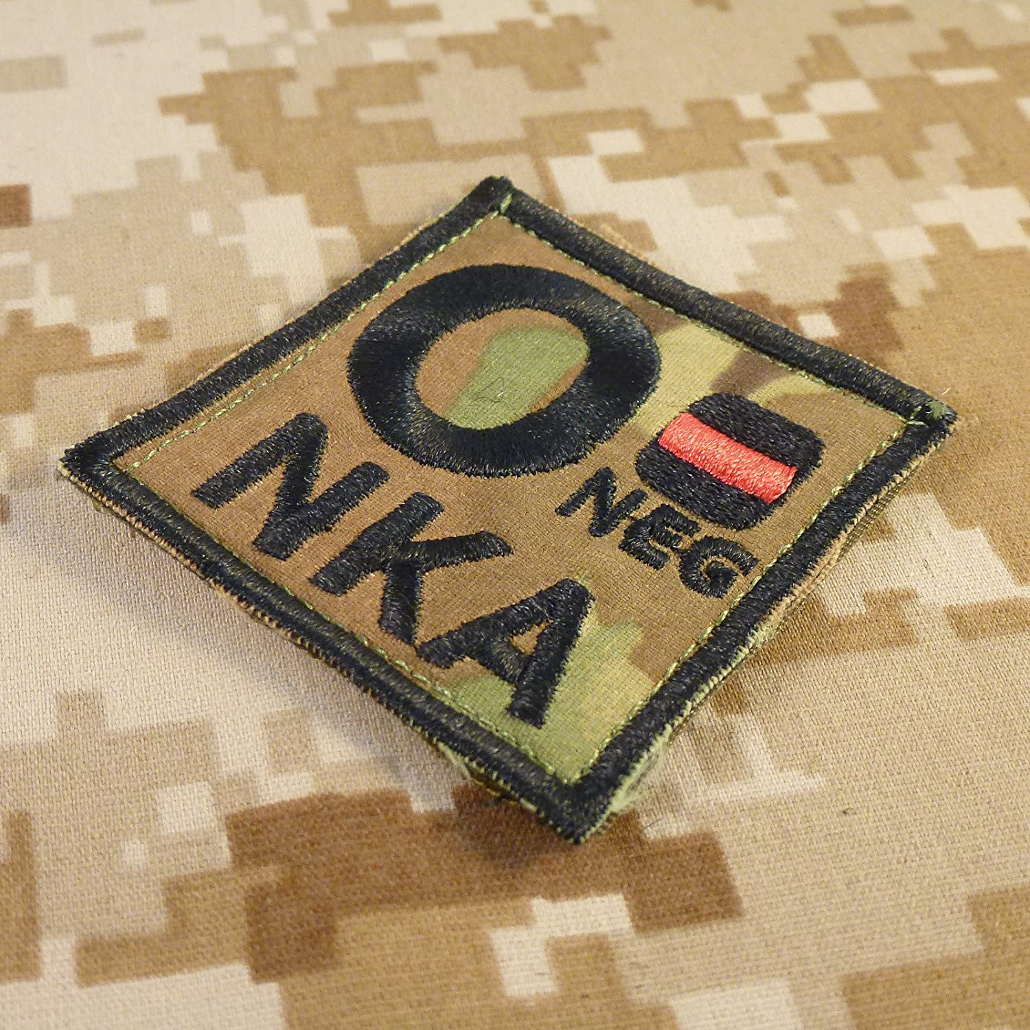NKA Blood Type Embroidered Hook-and-Loop Patch Multicam O NEG O