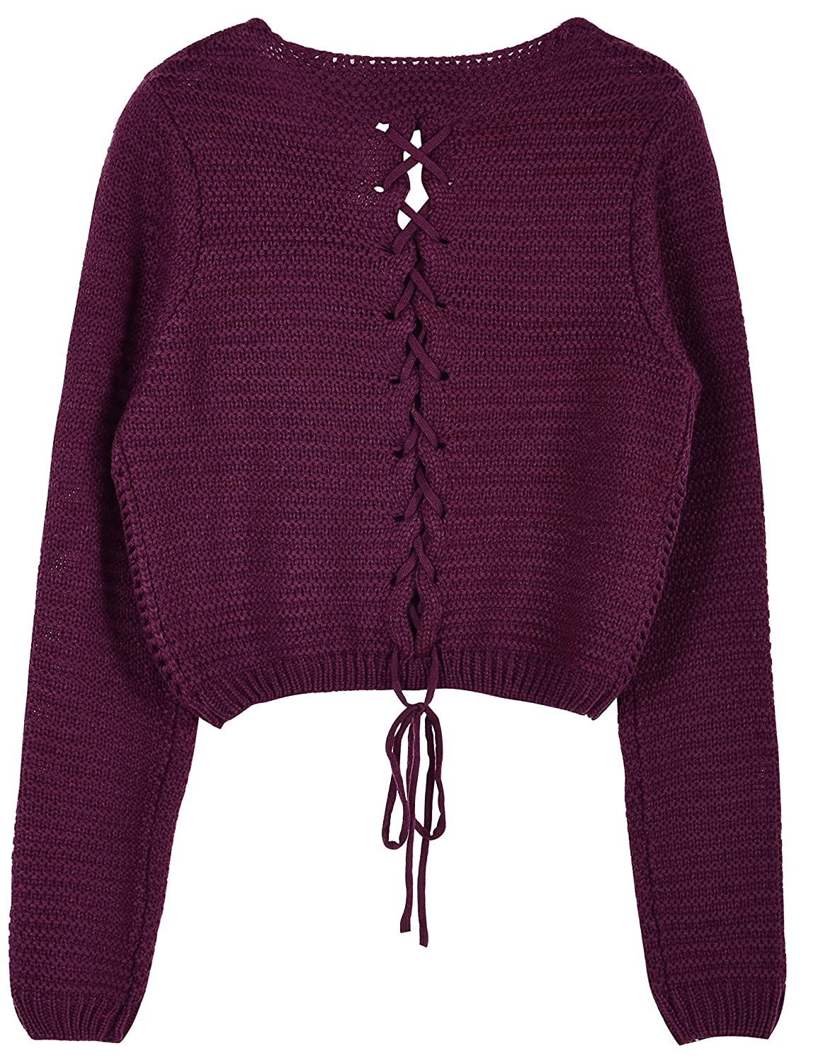 ce26306a99d PrettyGuide Women's Sweater Long Sleeve Eyelet Cable Lace Up Crop ...