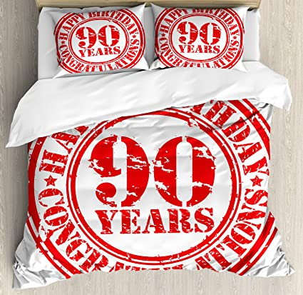 Ambesonne 90th Birthday Decorations Duvet Cover Set Aged Dated Red Stamp With Ninety Years Grunge