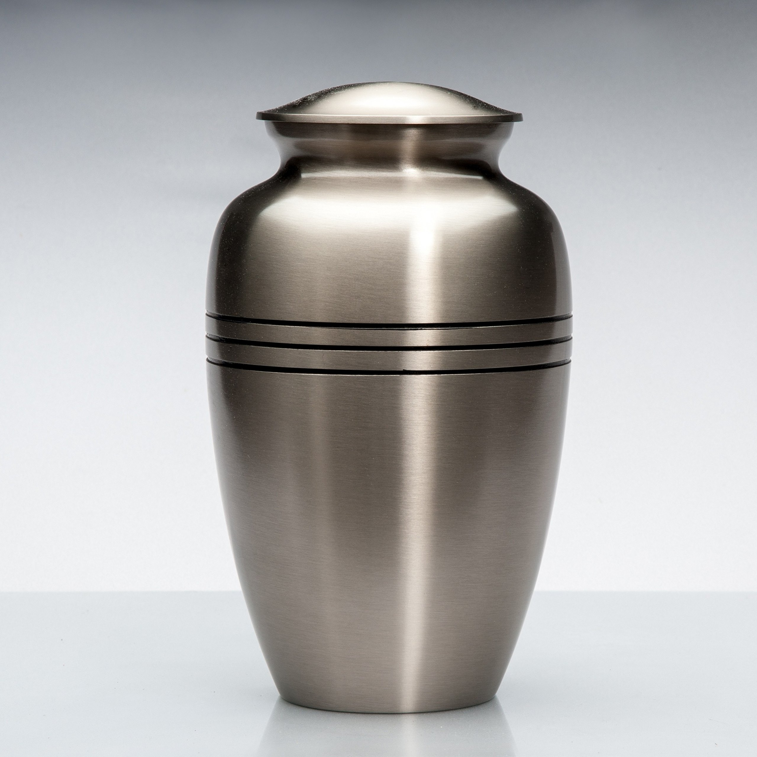 Cremation Funeral Urn for Human Cremated Remains Ashes - The Classic Silver is made of solid brass with a unique and elegant design
