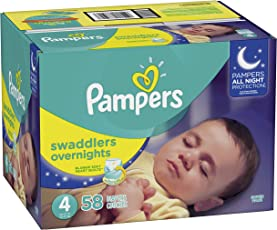 Pampers Swaddlers Overnights Disposable Diapers Size 4, 58 Count, SUPER