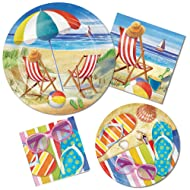 Beach Bliss Pool Party Supply Pack! Bundle Includes Plates & Napkins for 8 Guests