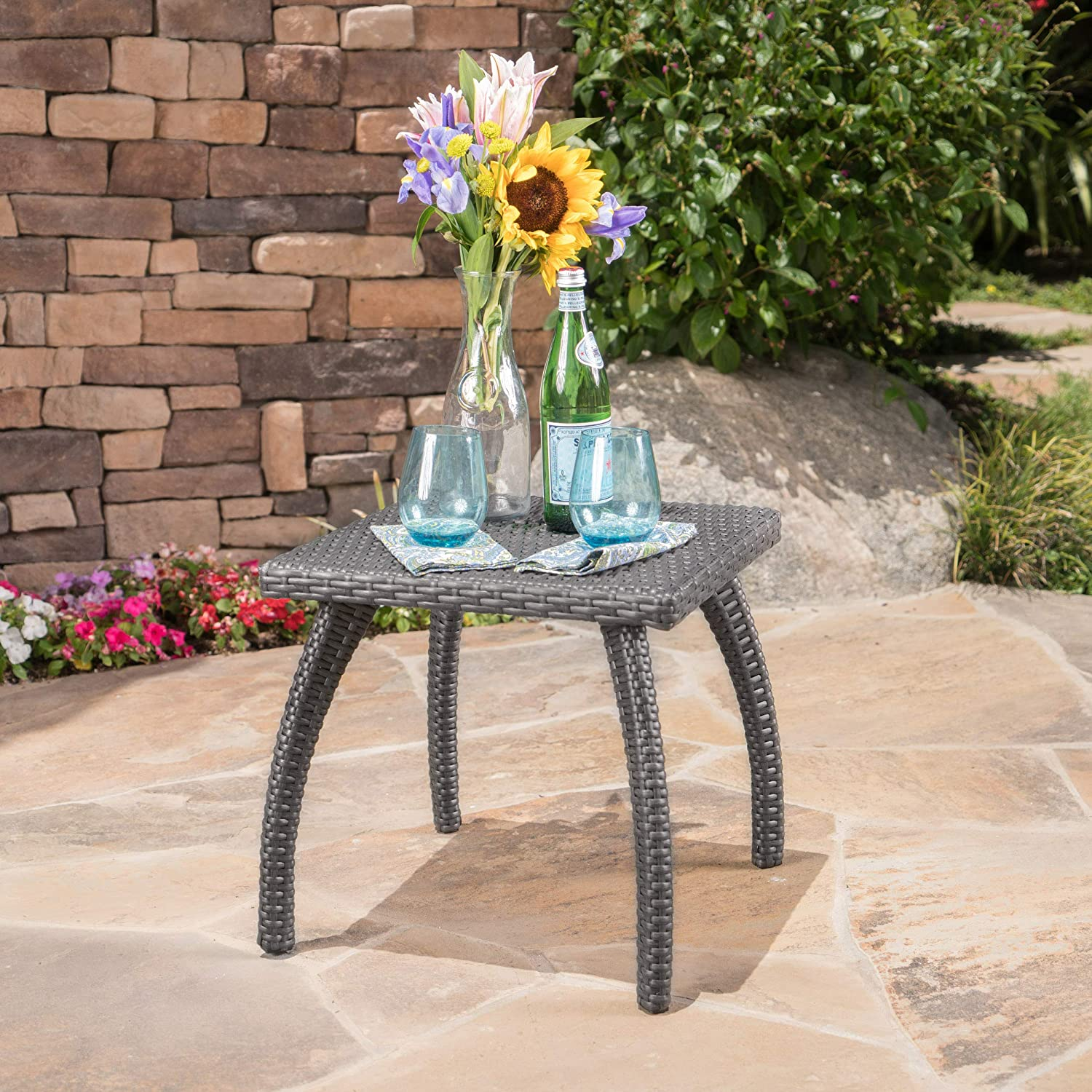 Christopher Knight Home 296728 Woodridge Outdoor Grey Wicker Accent Table