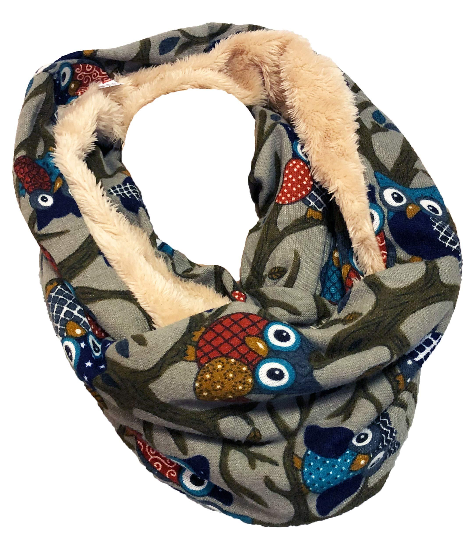 592a1b60db6cfd JameStyle26 EULE Flauschig Warmer Winter Loop Winter Schal Fleece Owl UHU  Kautz Schlauchschal Rundschal Teddyfutter product