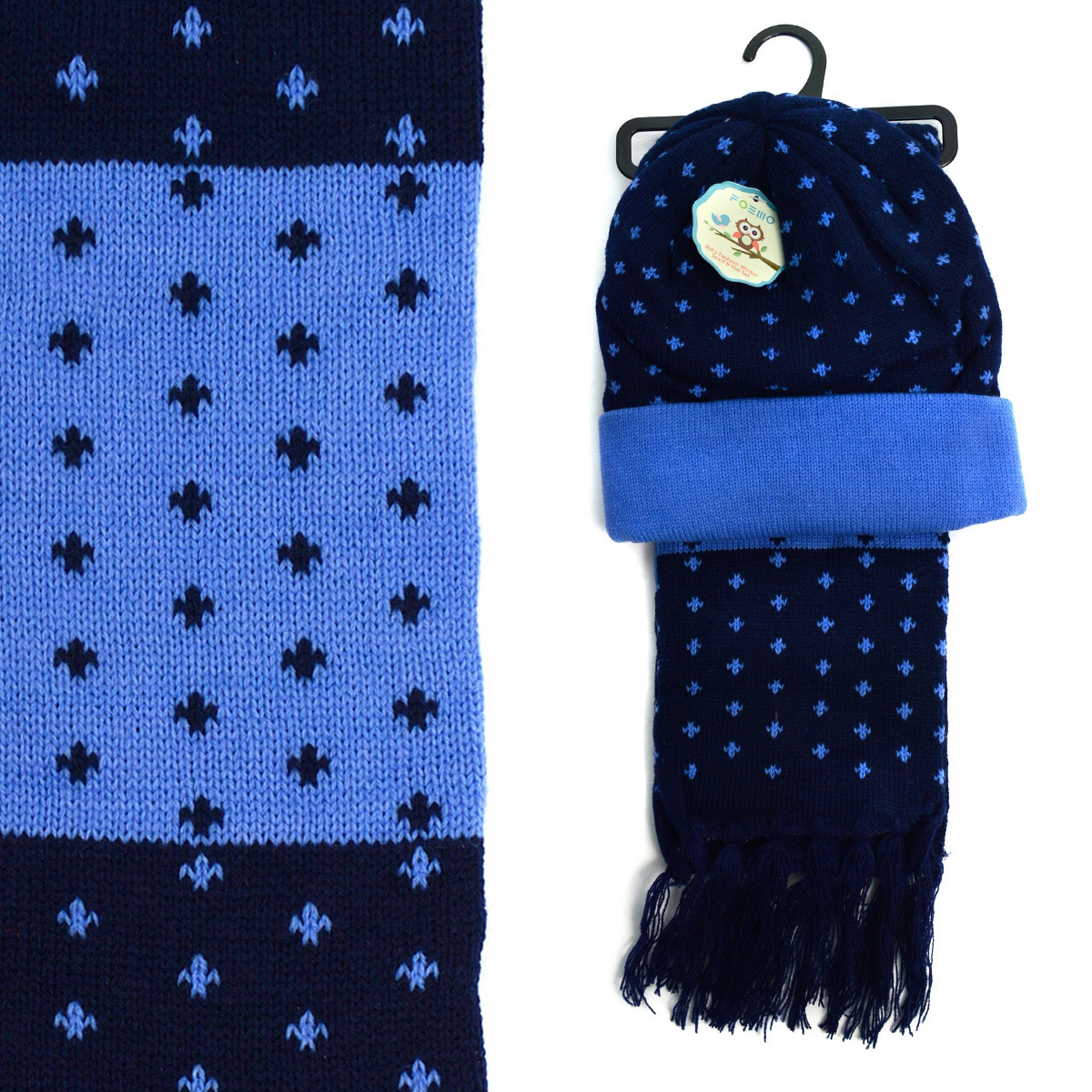 Kid's Tiny Cross Pattern Beanie and Scarf Winter Set