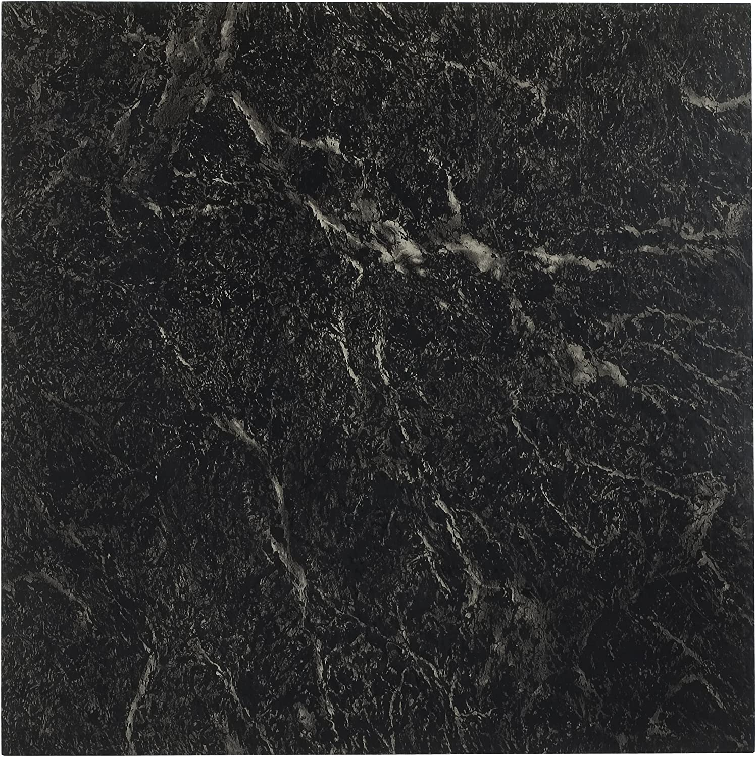 Achim Home Furnishings Nexus 12-Inch Vinyl Tile, Marble Black with White Vein, 20-Pack
