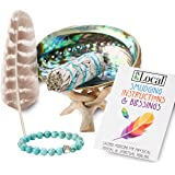 JL Local White Sage Smudge Stick Smudging Kit | Abalone Shell & Stand, Turquoise Bracelet, Instructions & Blessings…