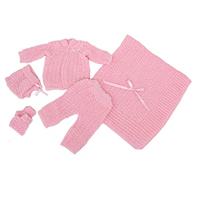 Blanket Newborn Crochet Five Piece Set Hat,booties, Sweater,pants