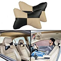 Autofy Universal Car Seat Pillow/Seat Cushion/Head Rest for All Cars (Black/Beige, Set of 2)