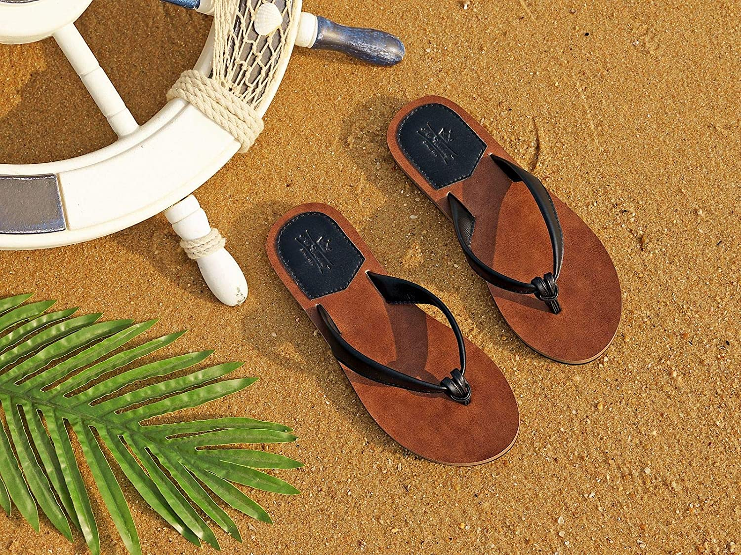 Brown, Numeric/_6 AX BOXING Flip Flops for Women Chic Simple PU Leather Sandals Slippers Sliders Soft Non-Slip Summer Beach Pool Indoor Outdoor Size 4-7