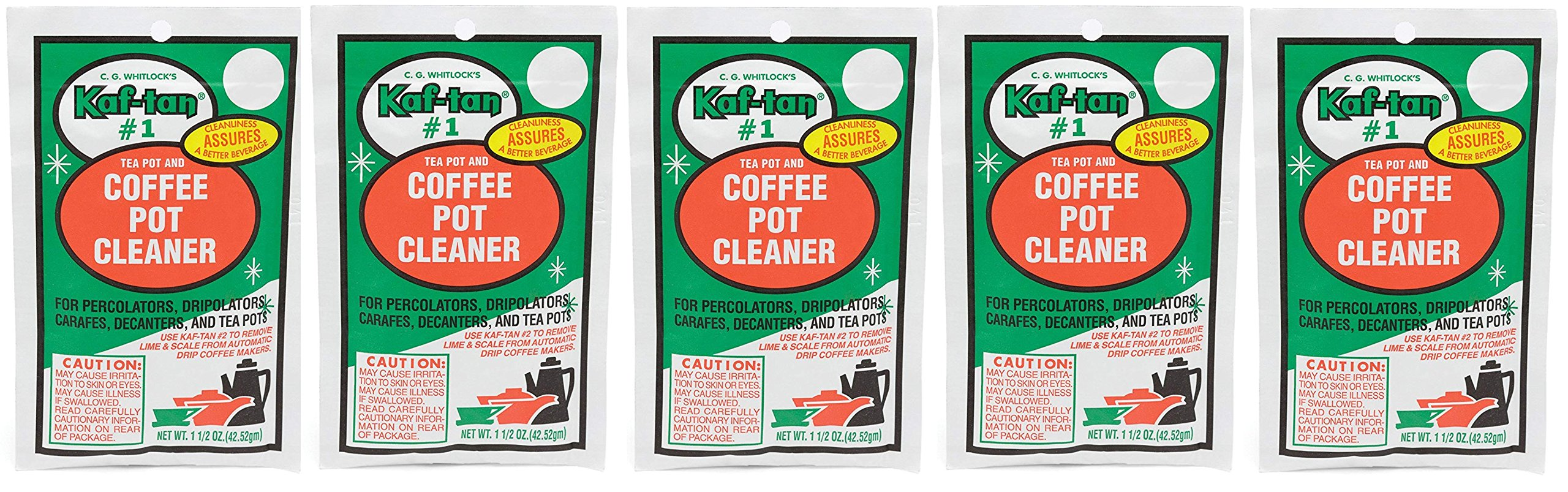 KAF-TAN #1 Coffee Pot Cleaner/Stain Remover, 1.5 Ounce Packet (5-Pack)