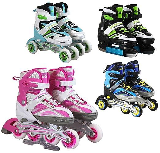 SportVida Inline Skates Kinder Erwachsene Inliner 4in1   Verstellbare Schlittschuhe   Triskates Größenverstellbar ABEC7 Lager