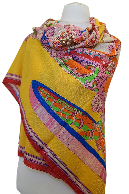 128x128cm Wunderschönes Damentuch aus Seide-Kaschmir-Wolle Handrolliert.