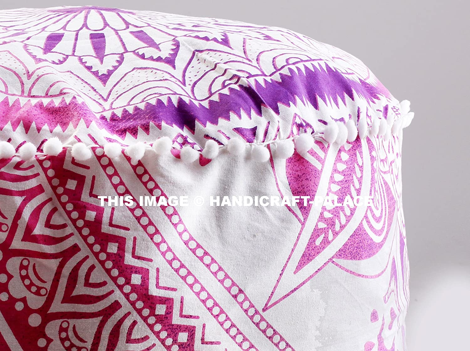 HANDICRAFT-PALACE Indian Cotton Ombre Mandala Round Floor Pouf Ottoman Cover Poufs Size 24 x 14 inches Sold
