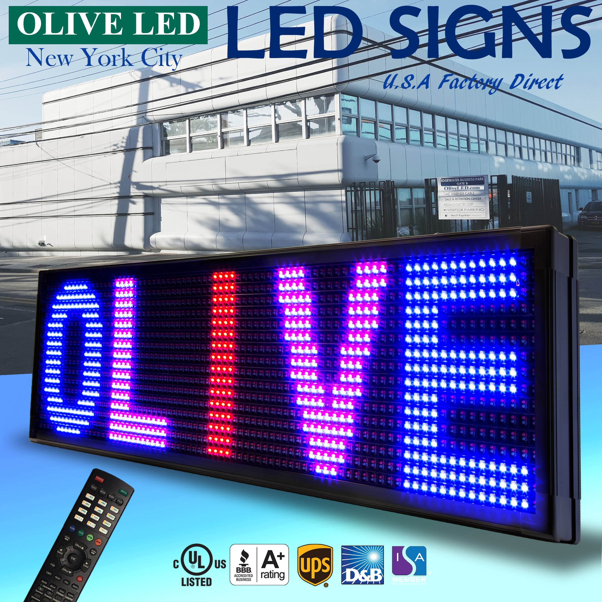 OLIVE LED Sign 3Color, RBP, P20, 15''x53'' IR Programmable Scrolling Outdoor Message Display Signs EMC - Industrial Grade Business Ad machine.
