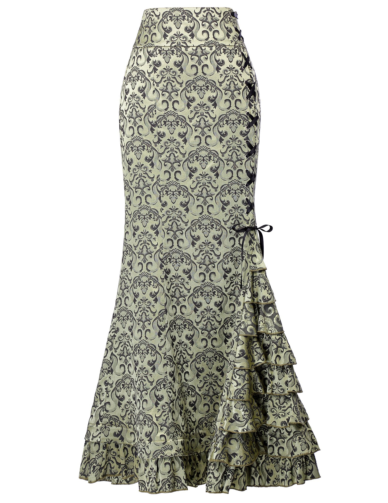 Women's Victorian Steampunk Mermaid Maxi Skirt for Halloween Size 6 Light Green by Belle Poque