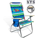690GRAND Deluxe 18 inches High Seat Beach Chair Big Tycoon Recline Cup Holder & Padded Shoulder Strap Ultimate Outdoor/Patio/Camping Relaxation