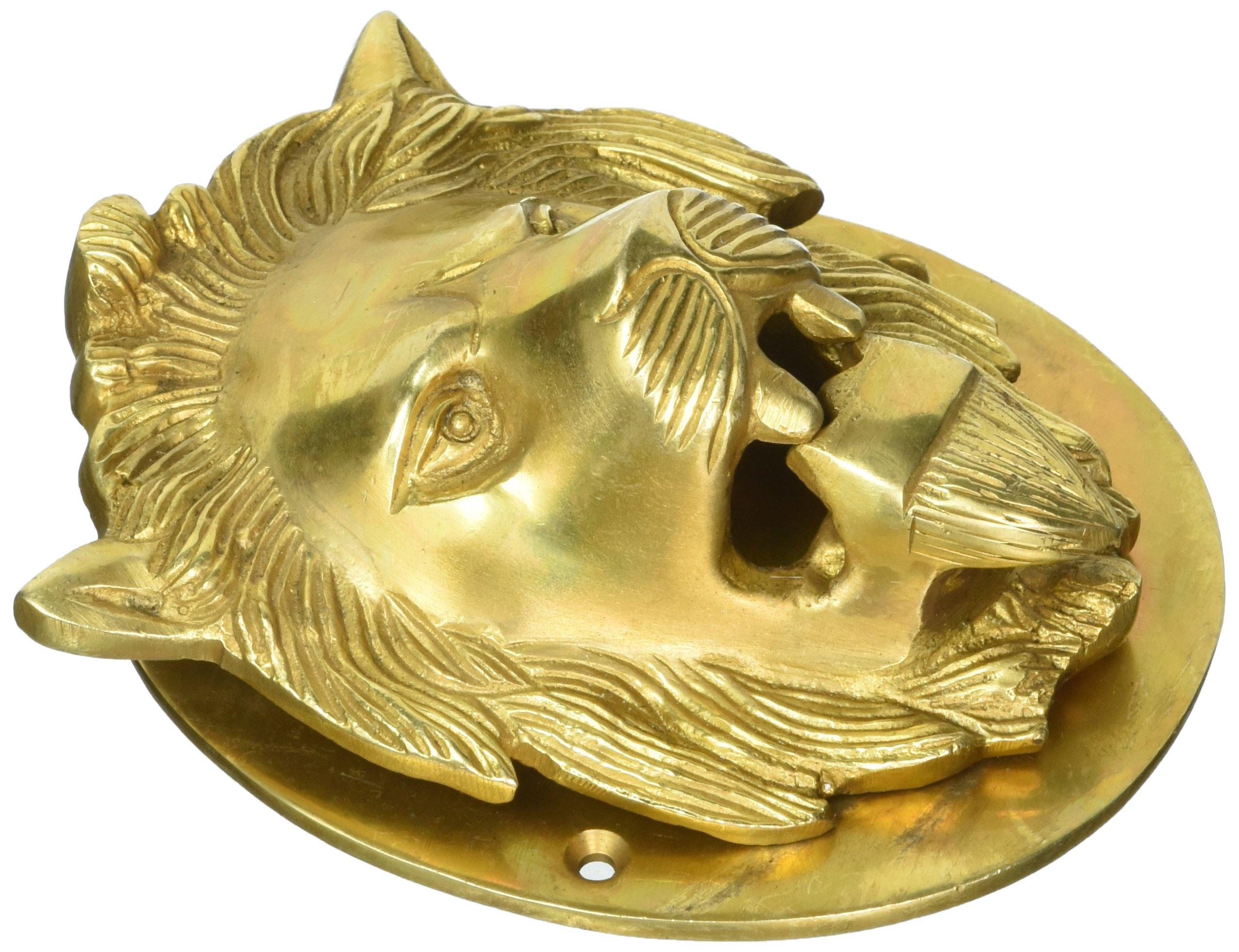 Aakrati VZH366 Lion Door Knocker, Brass Yellow