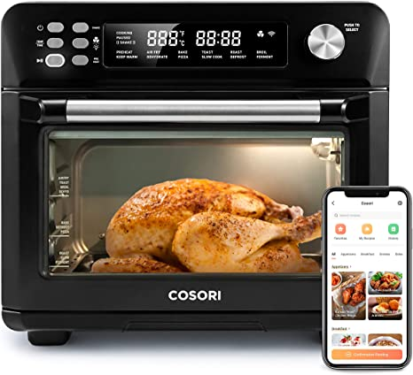 Amazon Com Cosori 12 In 1 Air Fryer Toaster Combo Mothers Day Gifts Countertop Dehydrator For Chicken Pizza And Cookies Recipes Accessories Included Work With Alexa 25l Smart Oven Matte Black Kitchen Dining
