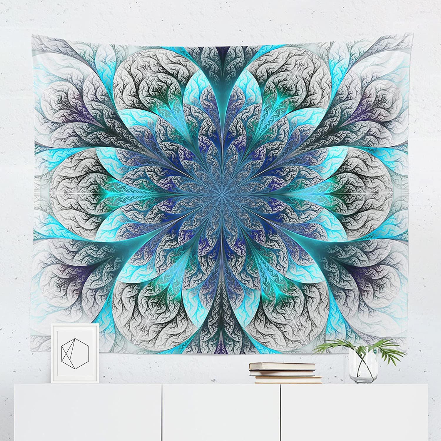 Mandala Tapestry - Bohemian Boho Floral Blue Wall Tapestries Hanging Dé cor Bedroom Dorm College Living Room Home Art Print Decoration Decorative - Printed in the USA - Small Medium Large Sizes