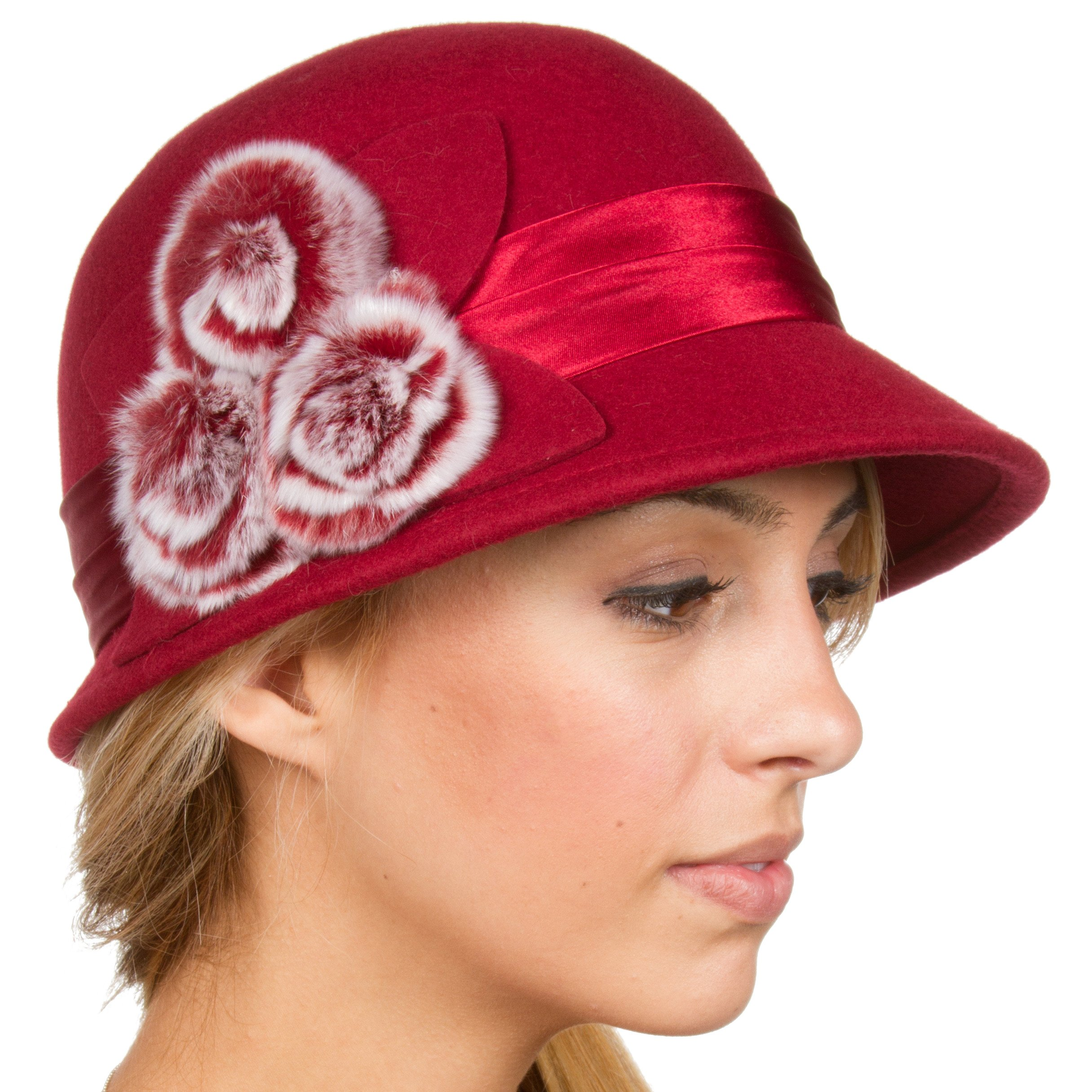 Sakkas 7841LC Sadie Faux Fur Vintage Style Wool Cloche Bucket Bell Hat - Red - One Size