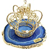 """The Royal Gift Shop: Authentic Brazilian Agate SLICE with 24K Gold Plated Rim -Blue (5""""-6"""") Protective rubber bumpers."""