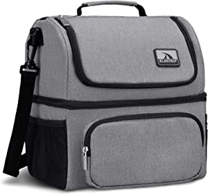 Elantrip Dual Compartment Lunch Bag Tote Double Deck Reusable Lunch Pail,Separate Cold and Hot Food,With Shoulder Strap(Gray)
