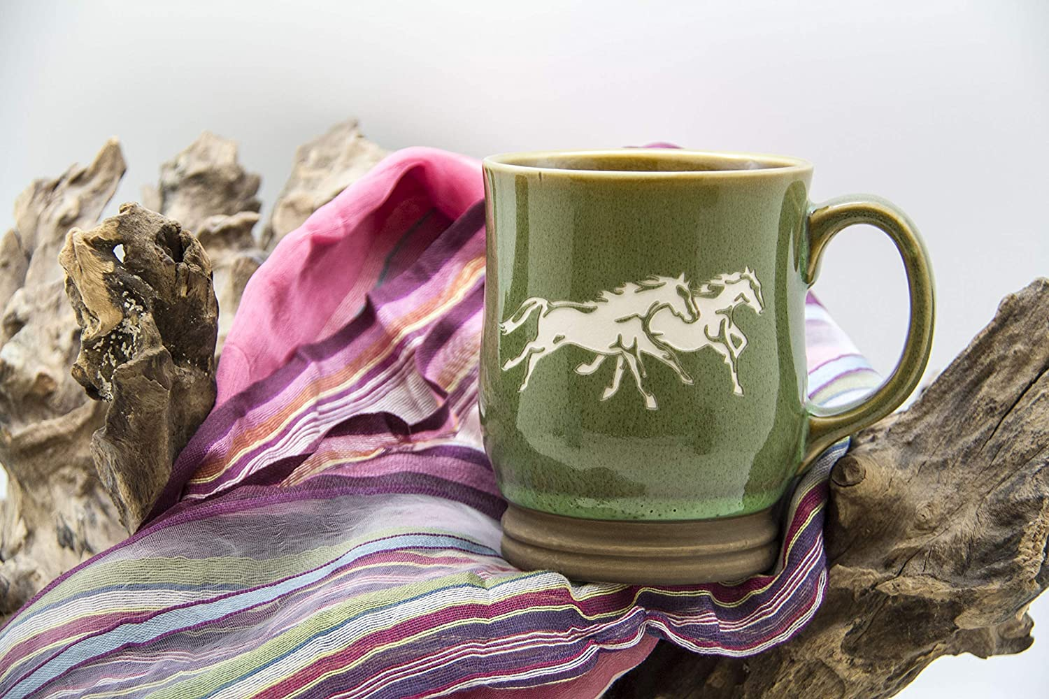 Green Ceramic Coffee Mug Sand Carved by Nostalgic Glass Works Hand Etched Running Horses