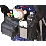 Premium Stroller Organizer - Universal Fit with Detachable Pouch and Insulated Drink Holders by Simply Organized | Lifetime 100% Satisfaction Guarantee