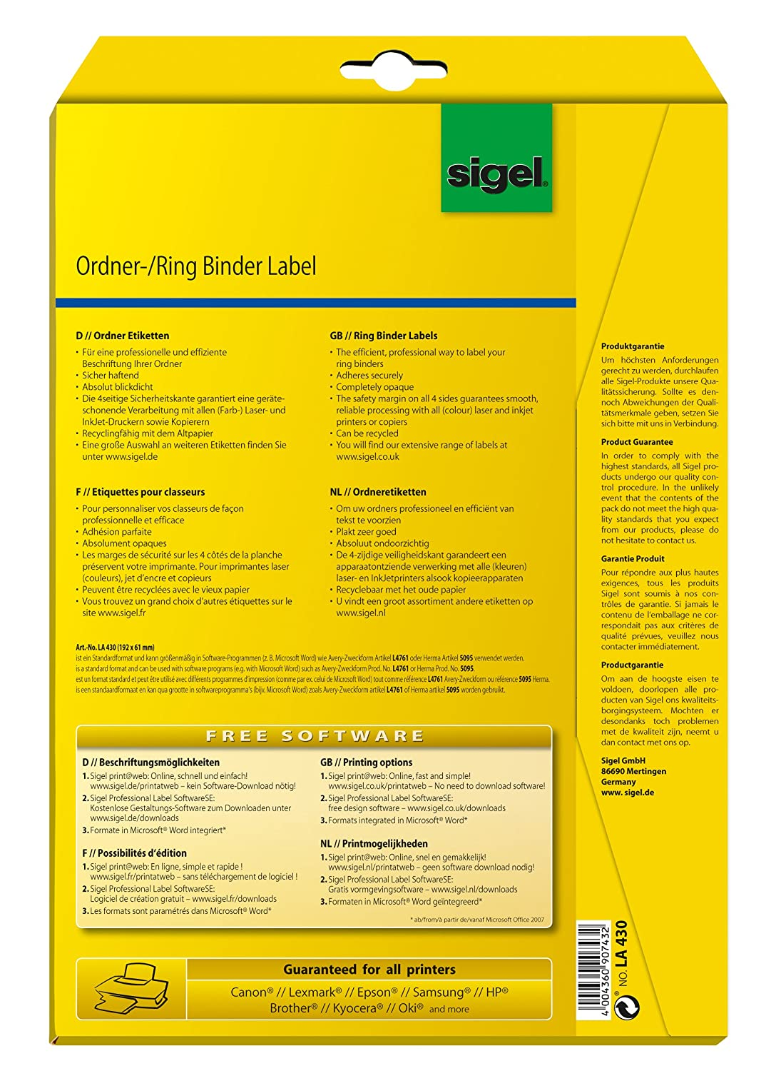 Sigel la450 ring binder labels, white, opaque, 61x297 mm (a4), 75.