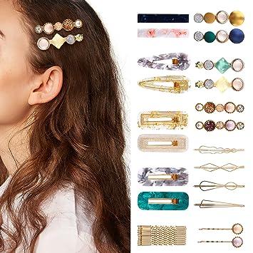 Women/'s Girls Geometric Pearl Hair Clips Barrette Slide Grips Hairpins C