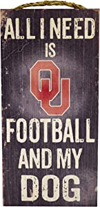 "Fan Creations NCAA Oklahoma Sooners 6"" x 12"" All I Need is Football and My Dog Wood Sign"